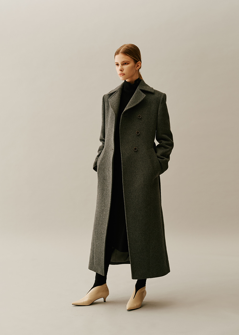 Slim Fit Wool Long Coat GRAY