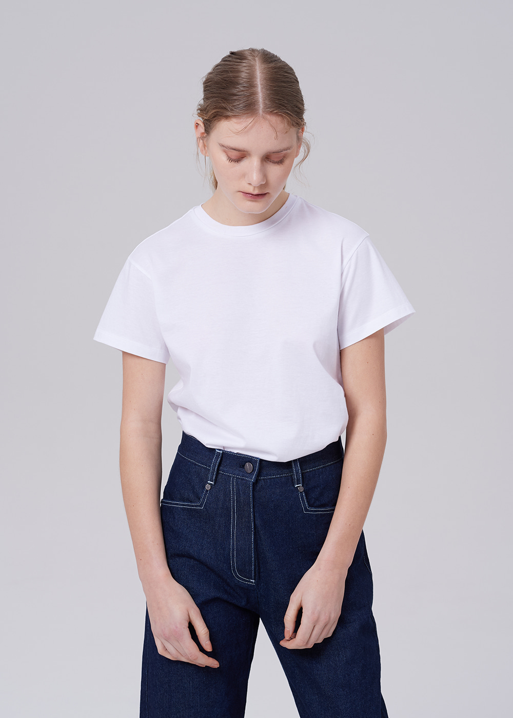 Embroidery Basic T-shirt WHITE