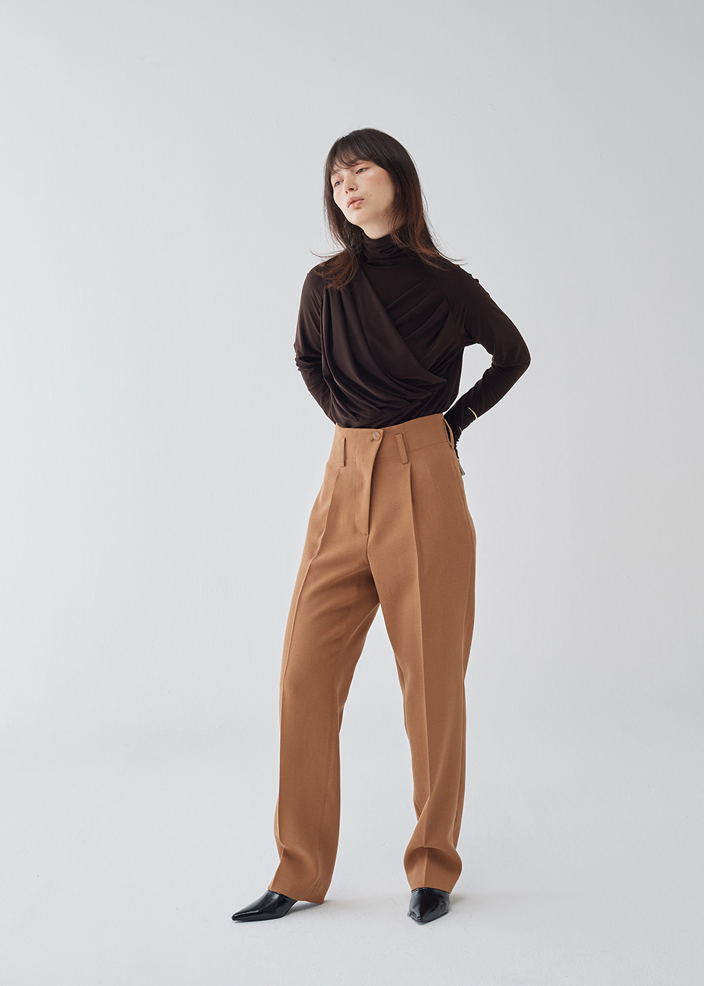 Back Buckle High-Waist Pants
