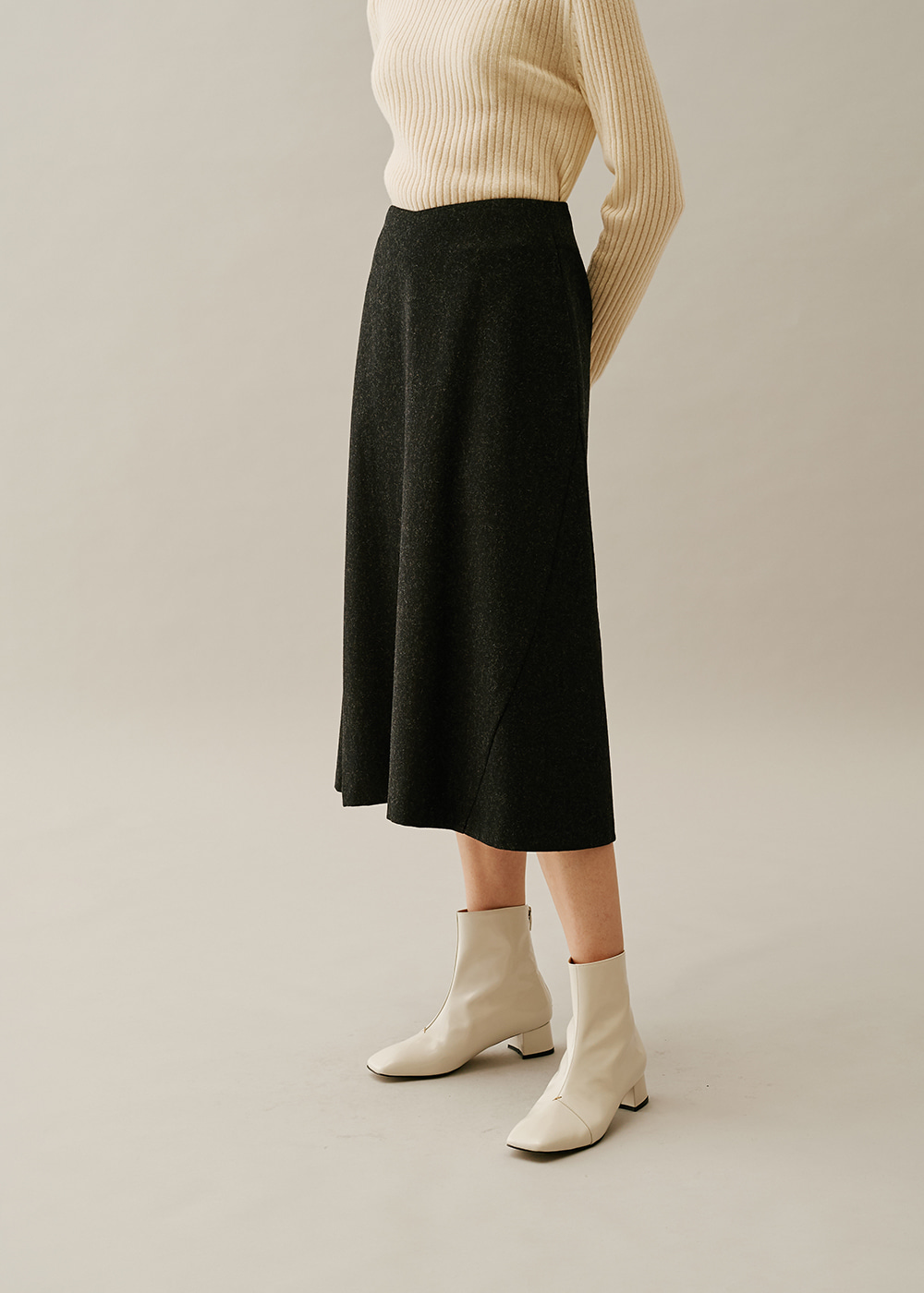 Flare A Line Midi Skirt GRAY