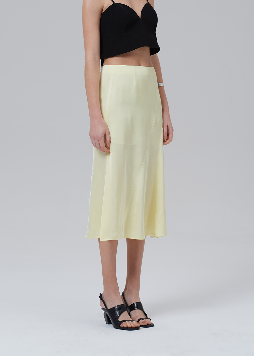 Cut Out Side Vent Skirt YELLOW
