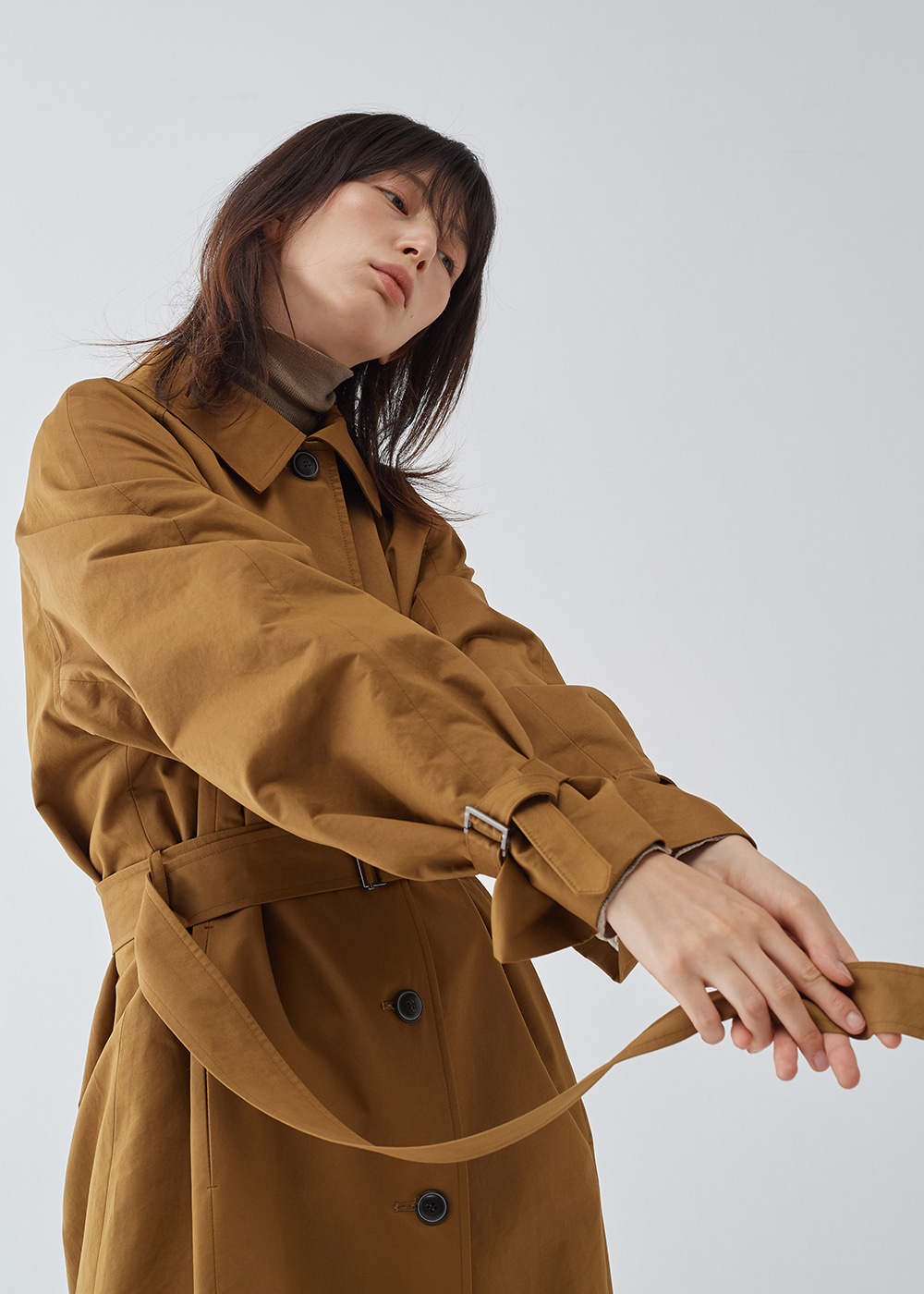 Raglan Sleeve Long Trench Coat
