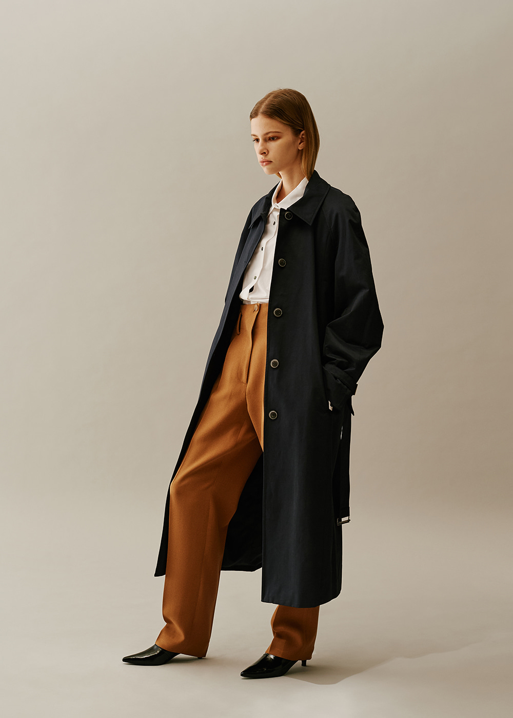 Raglan Sleeve Long Trench Coat NAVY