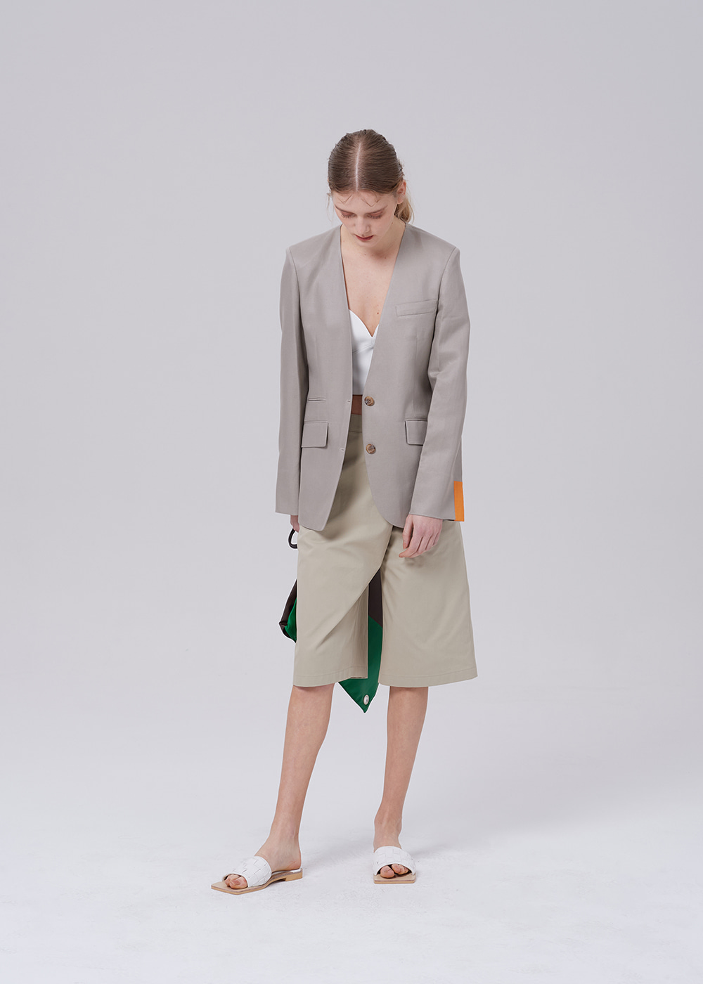 Notched Collar Blazer GRAY